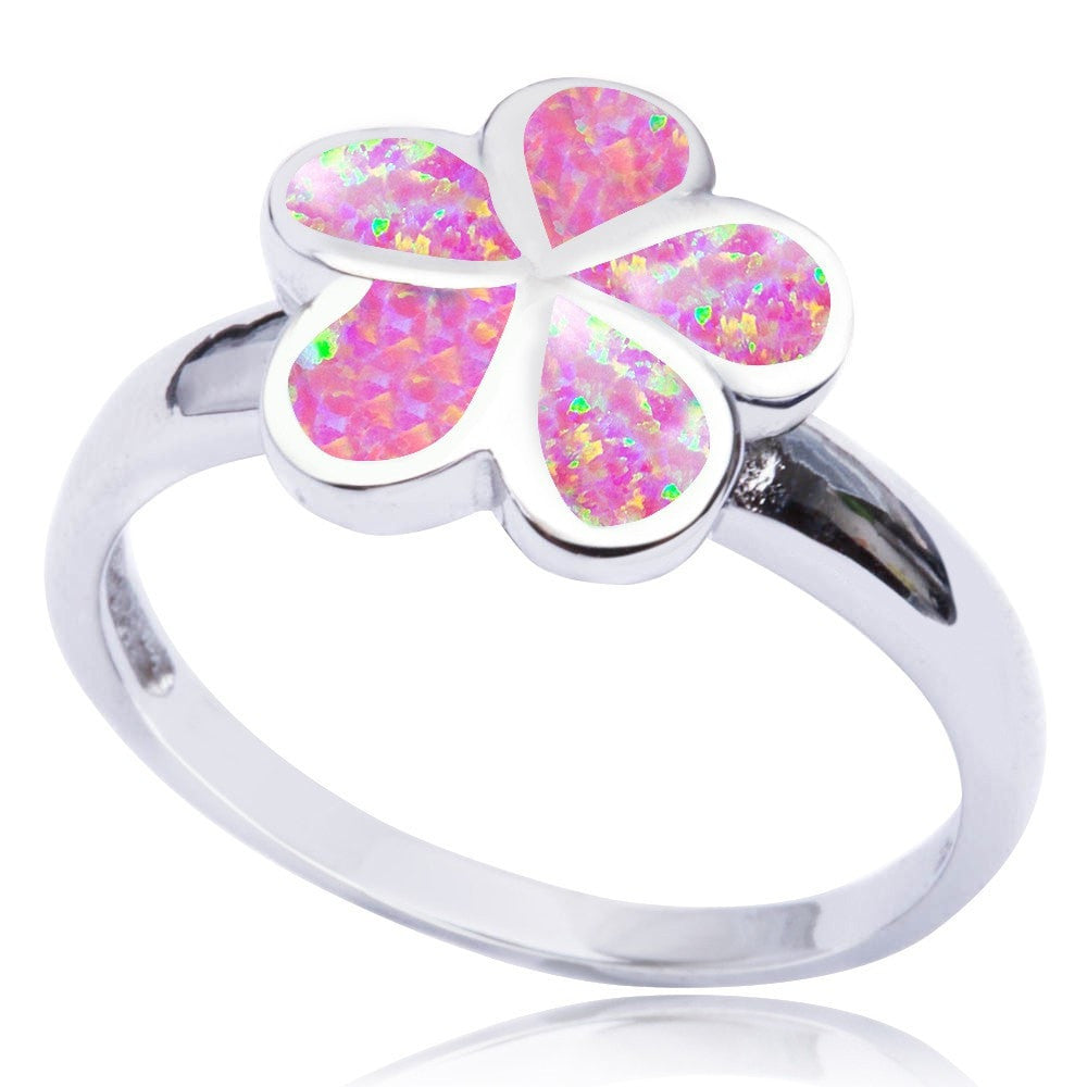 925 Sterling Silver Pink Inlay Fire Opal Plumeria Flower Lovely Band Ring - SilverMania925