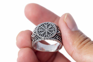 925 Sterling Silver Helm of Awe Viking Oxidized Ring - SilverMania925