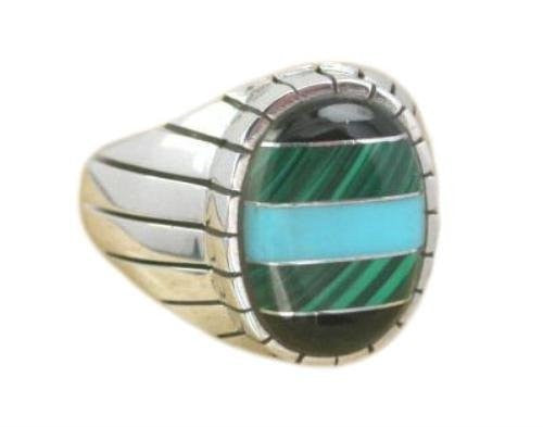 925 Sterling Silver Mens Oval Onyx Malachite Turquoise Stone Set Thick Band Ring