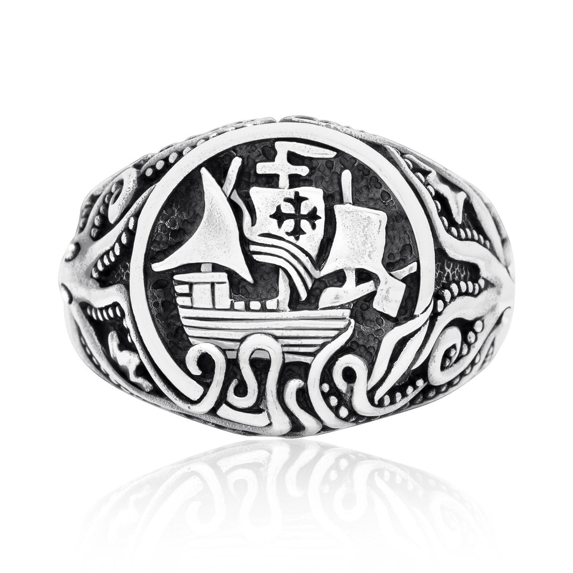 925 Sterling Silver Viking Drakkar Ship with Kraken Monster Ring - SilverMania925