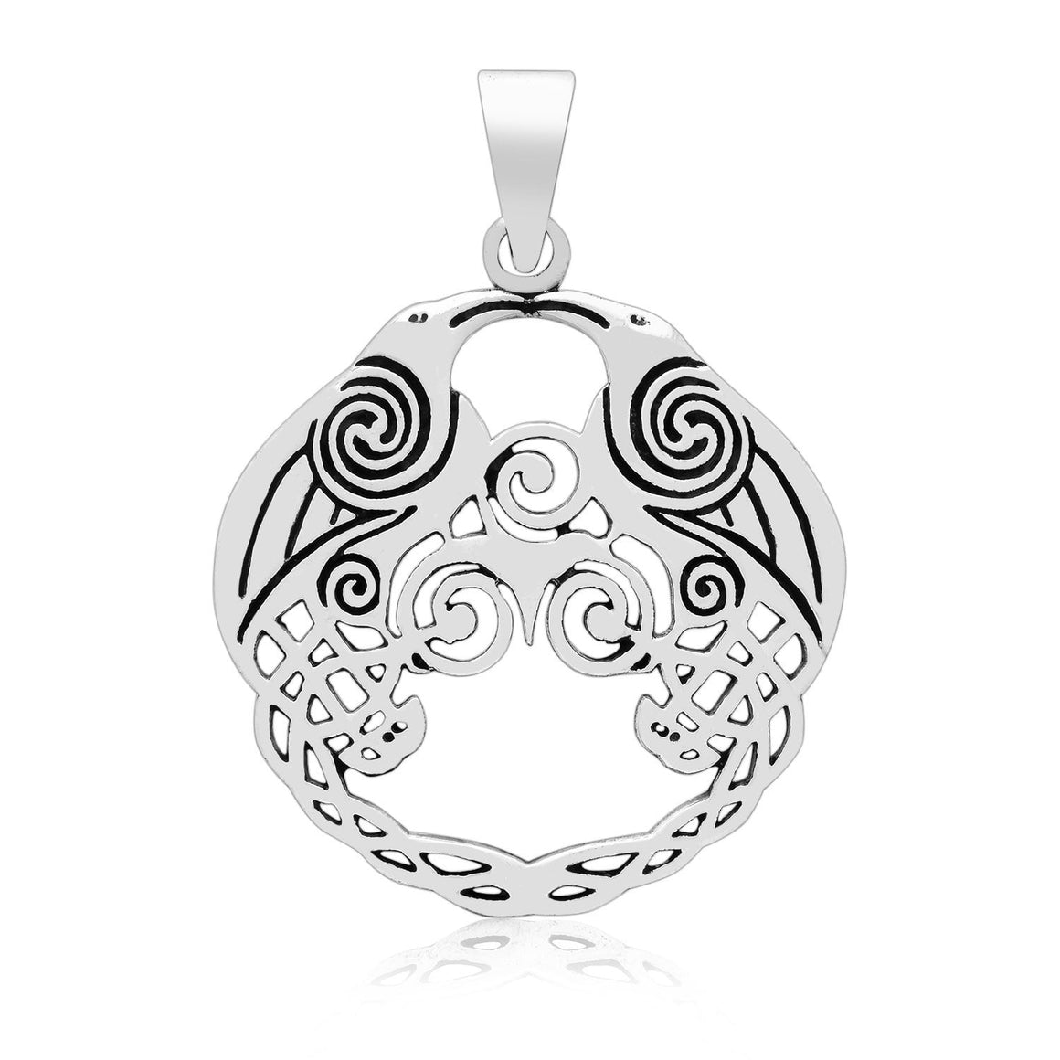 925 Sterling Silver Viking Huginn and Muninn Raven Pendant - SilverMania925