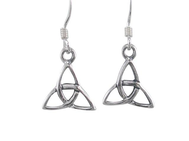 925 Sterling Silver Celtic Irish Trinity Knot Triquetra Dangle Earrings Set