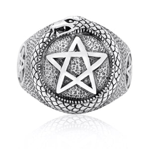 925 Sterling Silver Ouroboros Pentagram Masonic Ring