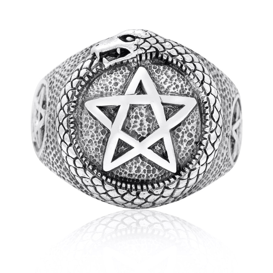 925 Sterling Silver Ouroboros Pentagram Masonic Ring - SilverMania925