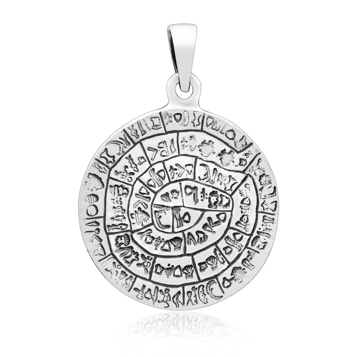 925 Sterling Silver Phaistos Disk Minoan Pendant
