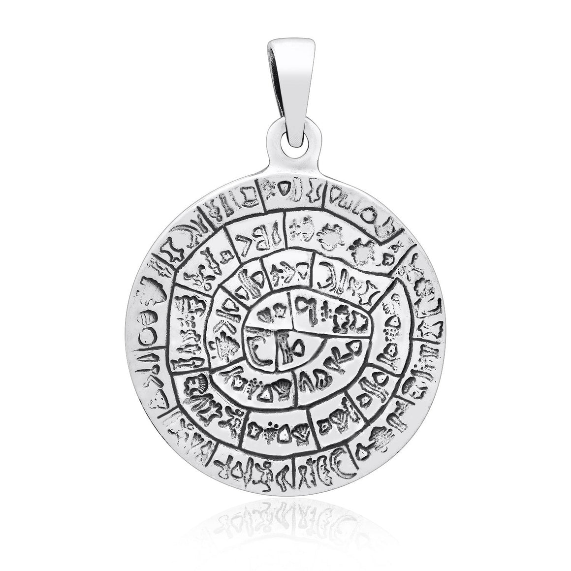 925 Sterling Silver Phaistos Disk Minoan Pendant - SilverMania925
