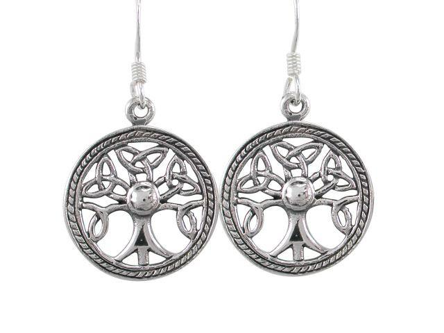 925 Sterling Silver Celtic Irish Knots Tree of Life Dangle Round Earrings Set - SilverMania925