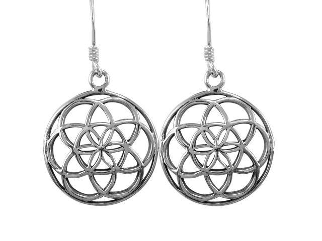 925 Sterling Silver Flower of Life Sacred Geometry Spiritual Dangle Round Earrings Set - SilverMania925