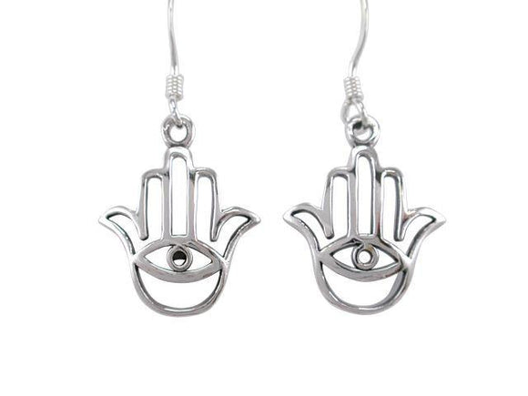 925 Sterling Silver Hamsa Hand of God Fatima Evil Eye Protection Dangle Earrings Set
