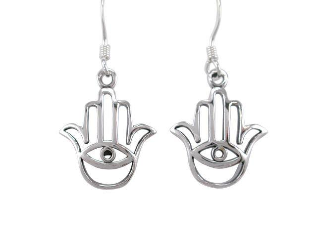 925 Sterling Silver Hamsa Hand of God Fatima Evil Eye Protection Dangle Earrings Set - SilverMania925