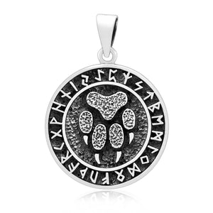 925 Sterling Silver Viking Bear Paw Footprint Pendant with Runes - SilverMania925
