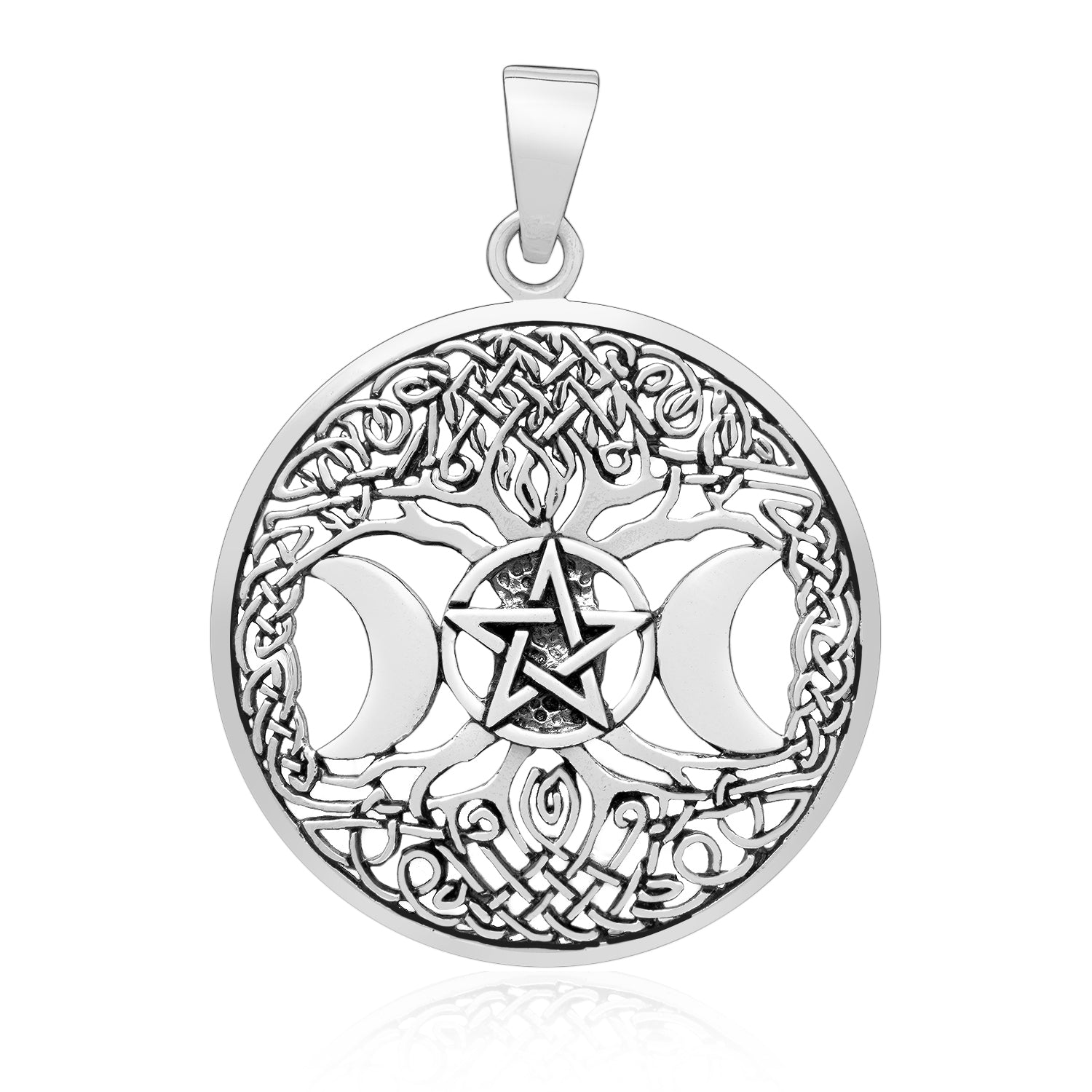 925 Sterling Silver Triple Moon Goddess Pendant with Yggdrasil
