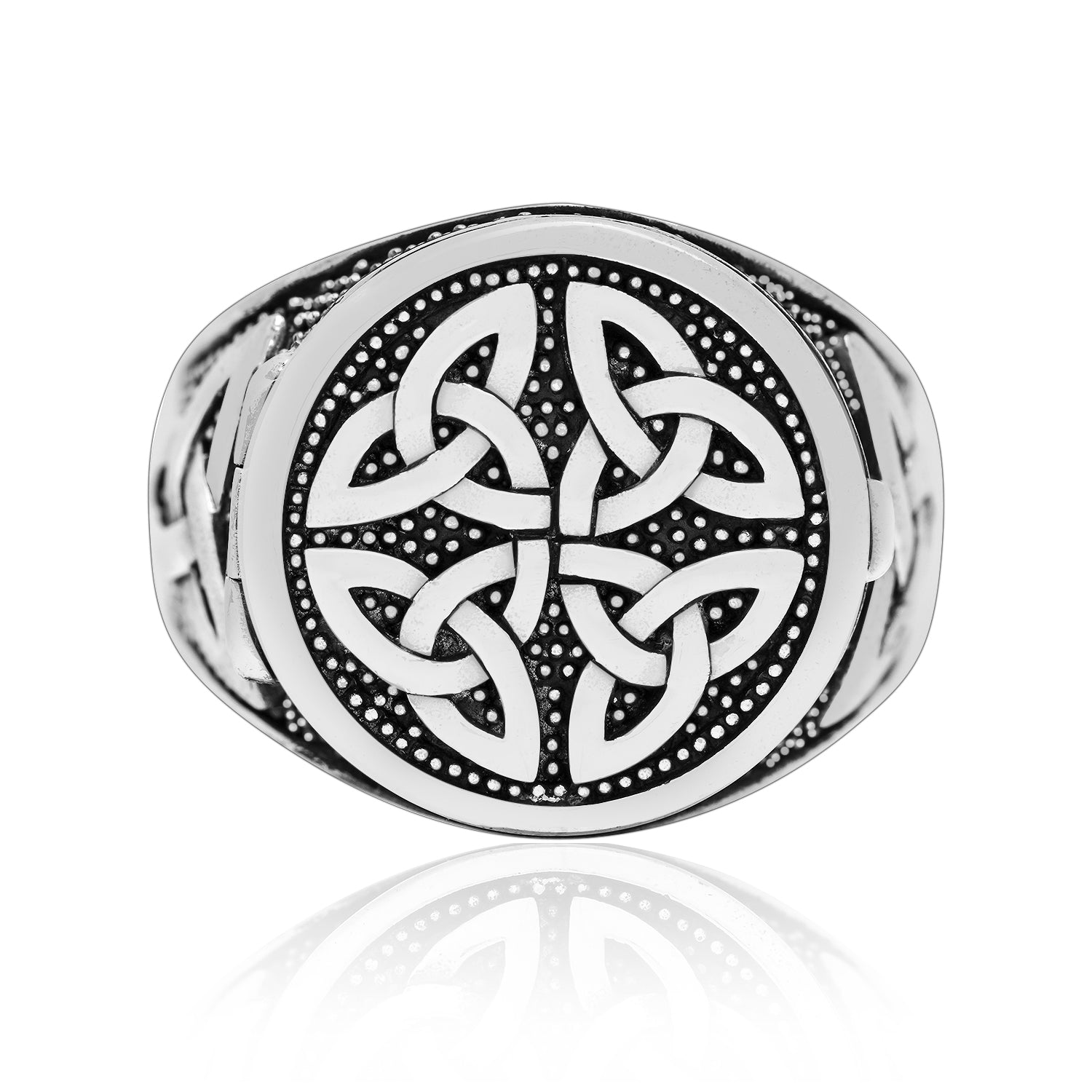 925 Sterling Silver Celtic Triquetra Locket Ring