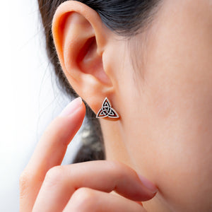 925 Sterling Silver Triquetra Stud Earrings Set