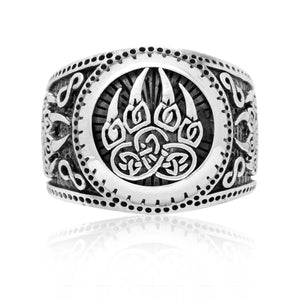 925 Sterling Silver Viking Print Bear Paw Claw Slavic Warding Veles Signet Ring - SilverMania925