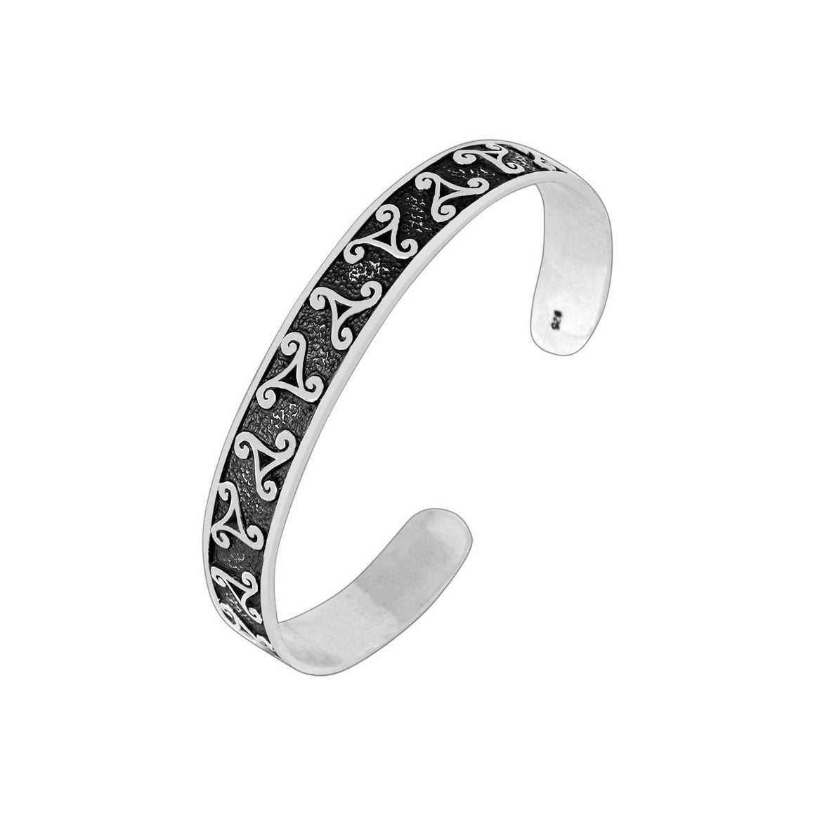 925 Sterling Silver Celtic Triskelion Knot Bangle - SilverMania925