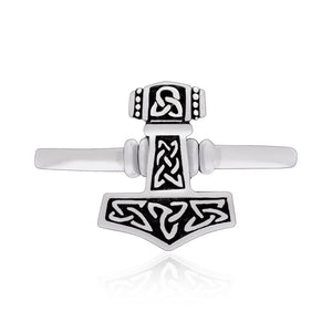 925 Sterling Silver Viking Thor Hammer Ring