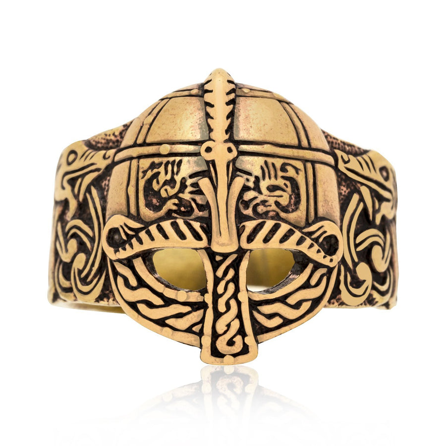 Viking Gjermundbu Helmet Bronze Ring with Dragons