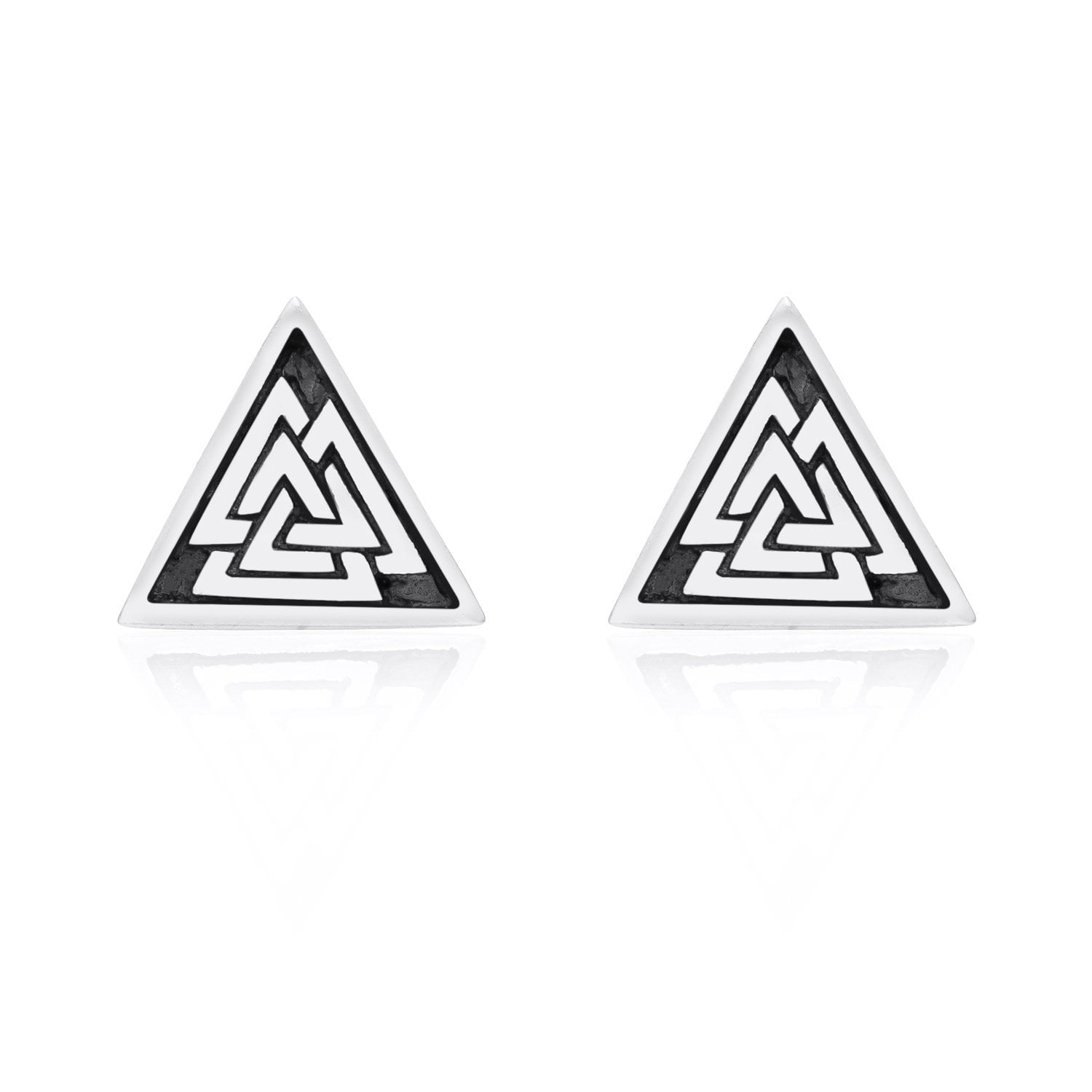 925 Sterling Silver Viking Valknut Stud Earrings Set