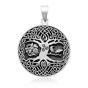 Sterling Silver Viking Tree of Life Pendant with Raven Sleipnir and Triskelion