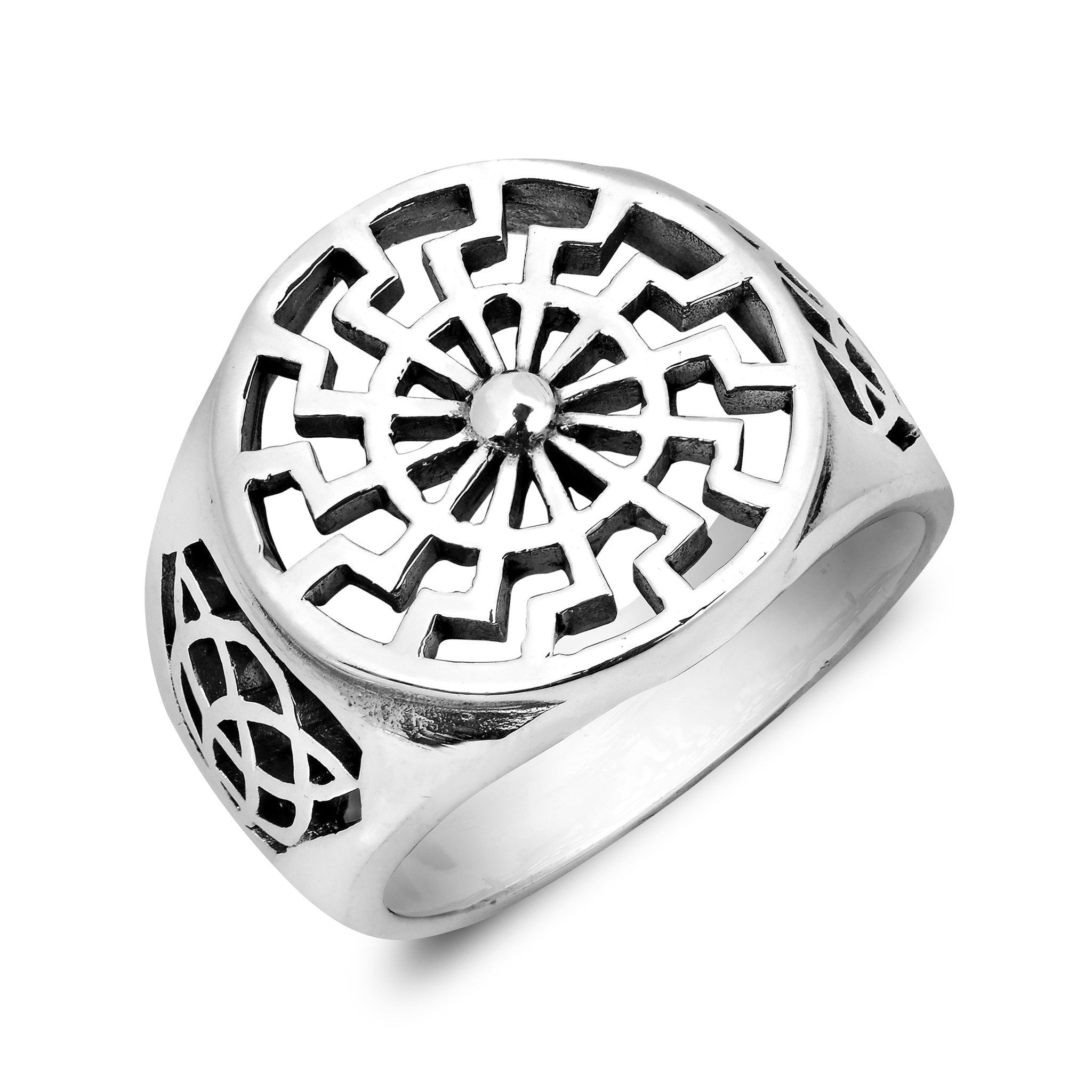 knot celtic sonne wheel schwarze black silver german sonnenrad ring products diamond sterling sun