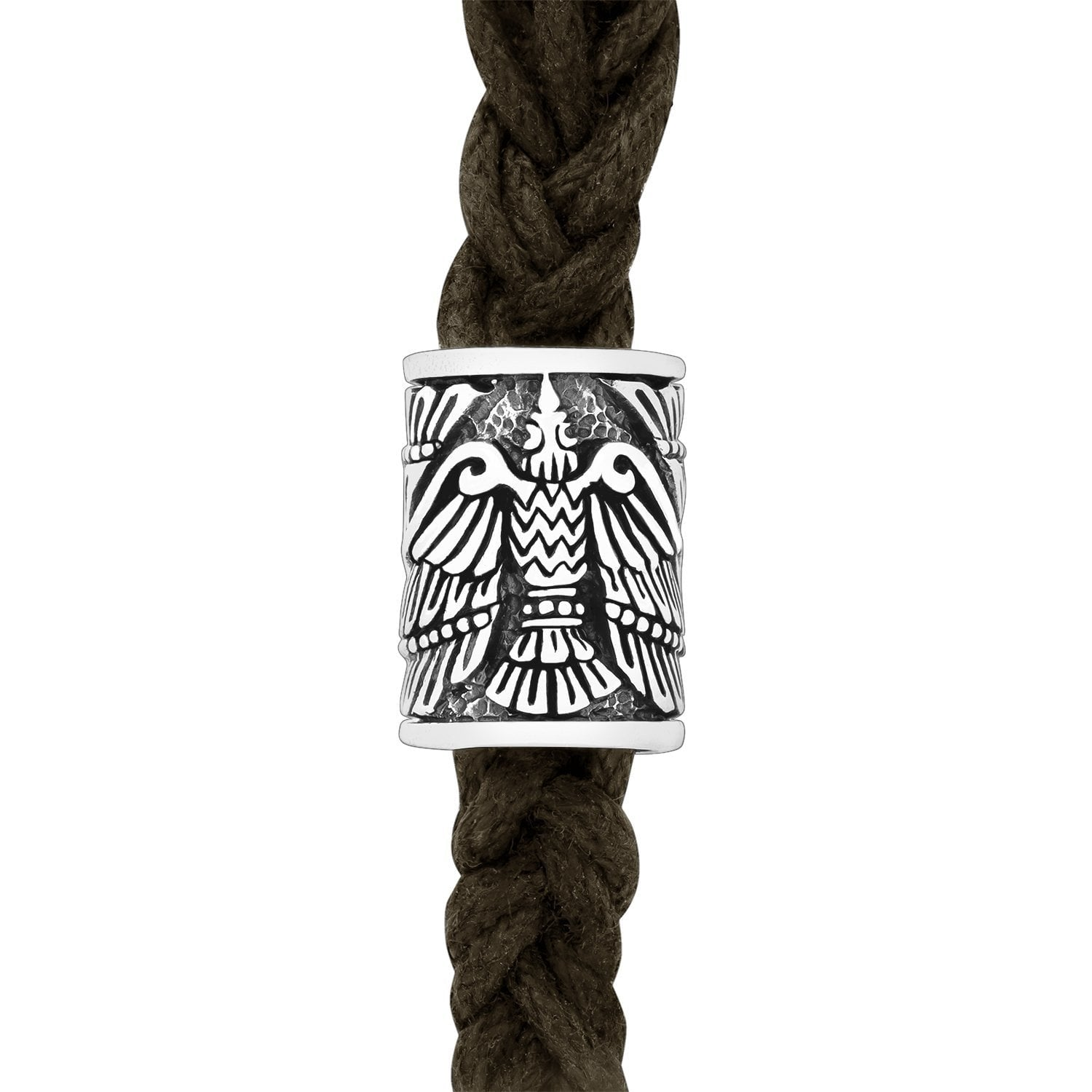 Sterling Silver Viking Beard Bead with Raven Huginn and Muninn