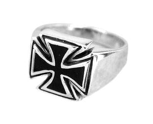 925 Sterling Silver Mens Maltese Iron Cross Gothic Biker Black Enamel Ring - SilverMania925
