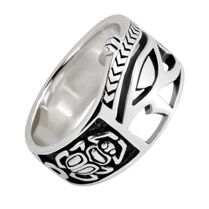 925 Sterling Silver Egyptian Eye of Horus Udjat Egypt Ankh Scarab Band Ring - SilverMania925