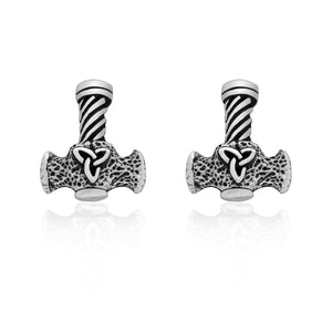 925 Sterling Silver Viking Mjolnir with Triquetra Earrings