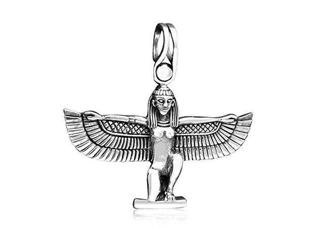 925 Sterling Silver Egyptian Isis Hathor Winged Pendant - SilverMania925
