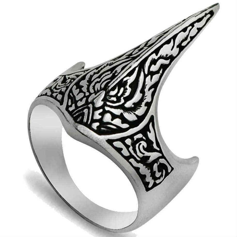 925 Sterling Silver Handmade Crown Archer Zighir Turkish Jewelry Mens Ring - SilverMania925