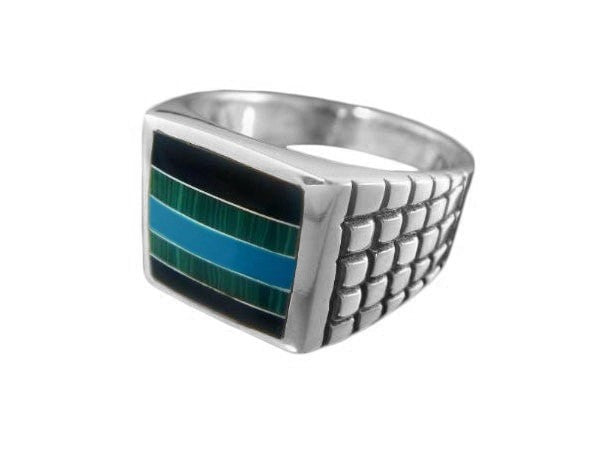 925 Sterling Silver Mens Square Onyx Malachite Turquoise Ring - SilverMania925