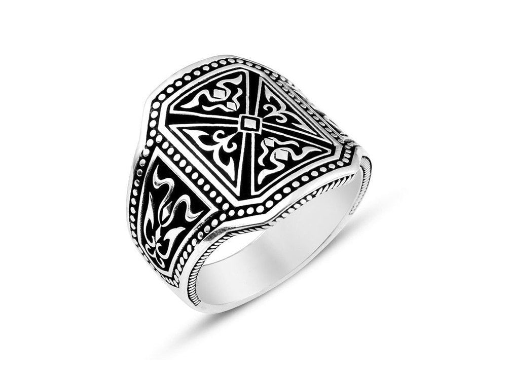 925 Sterling Silver Pusat Special Design Filigree Bold Mens Big Ring