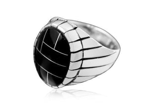 925 Sterling Silver Mens Black Onyx Engraved Sides Oval Thick Solid Ring - SilverMania925