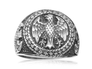 925 Sterling Silver Mens German Eagle Round Signet Bundesadler Band Ring - SilverMania925