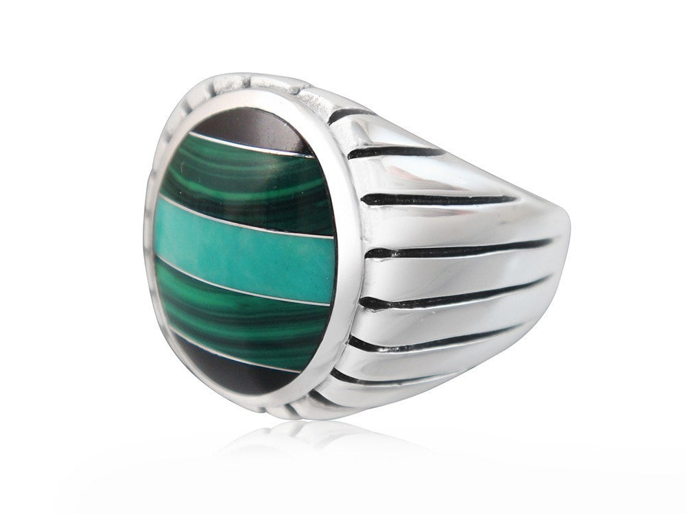 925 Sterling Silver Mens Onyx Malachite Turquoise Engraved Sides Solid High Polish Ring - SilverMania925
