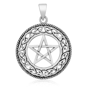 925 Sterling Silver Wiccan Pendant with Pentagram