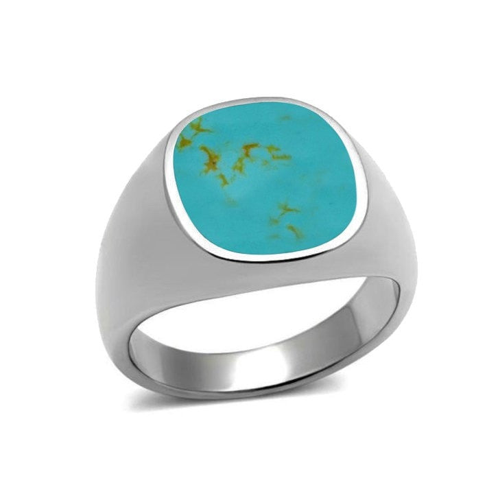 925 Sterling Silver Mens Inlay Turquoise High Polish Classic Band Solid Ring