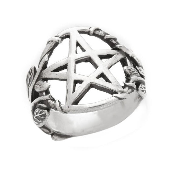 925 Sterling Silver Pentacle Pentagram Filigree Flower High Polish Ring