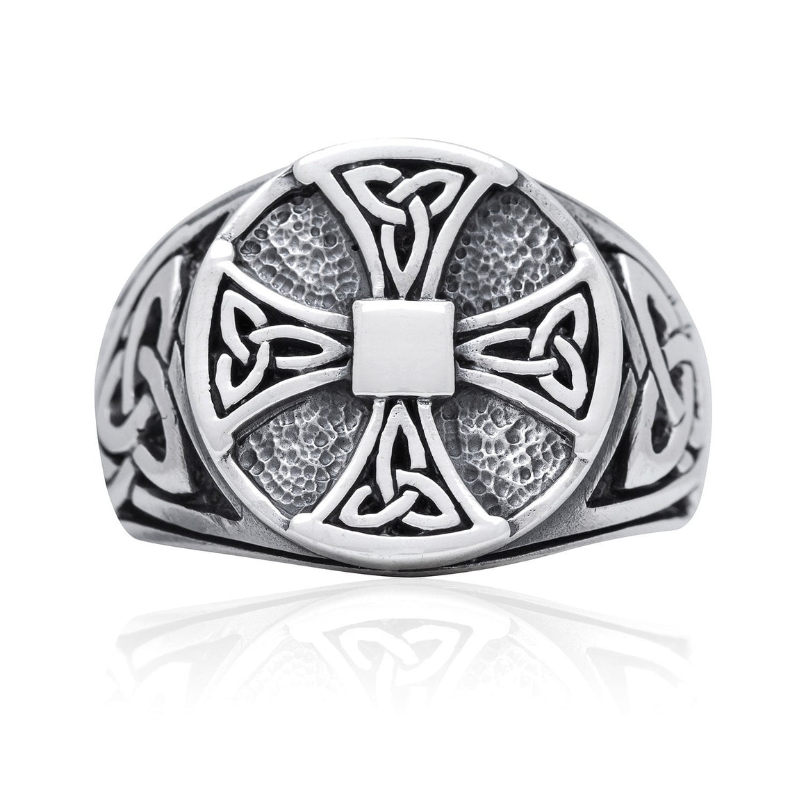 925 Sterling Silver Celtic Knot Knights Templar Iron Cross Triquetra Ring - SilverMania925