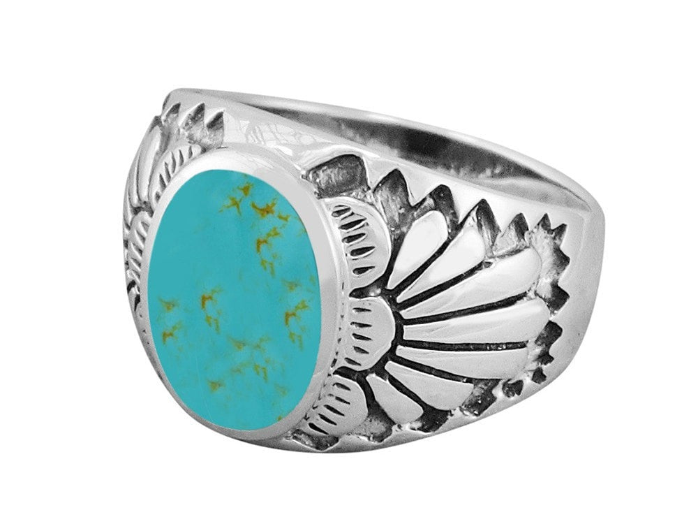 925 Sterling Silver Mens Inlay Genuine Turquoise Native American Indian Ring - SilverMania925