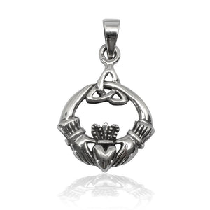 925 Sterling Silver Celtic Irish Claddagh Triquetra Trinity Knot Charm Pendant - SilverMania925