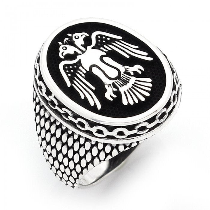 925 Sterling Silver Handmade Double-Headed Eagle Selcuklu Mens Oxidized Ring - SilverMania925