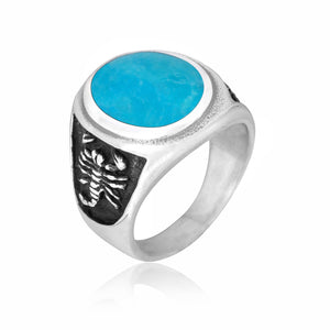 925 Sterling Silver Mens Oval Turquoise Engraved Scorpion Thick Ring - SilverMania925