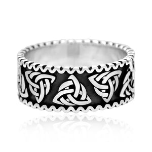 925 Sterling Silver Celtic Triquetra Knot Band Ring