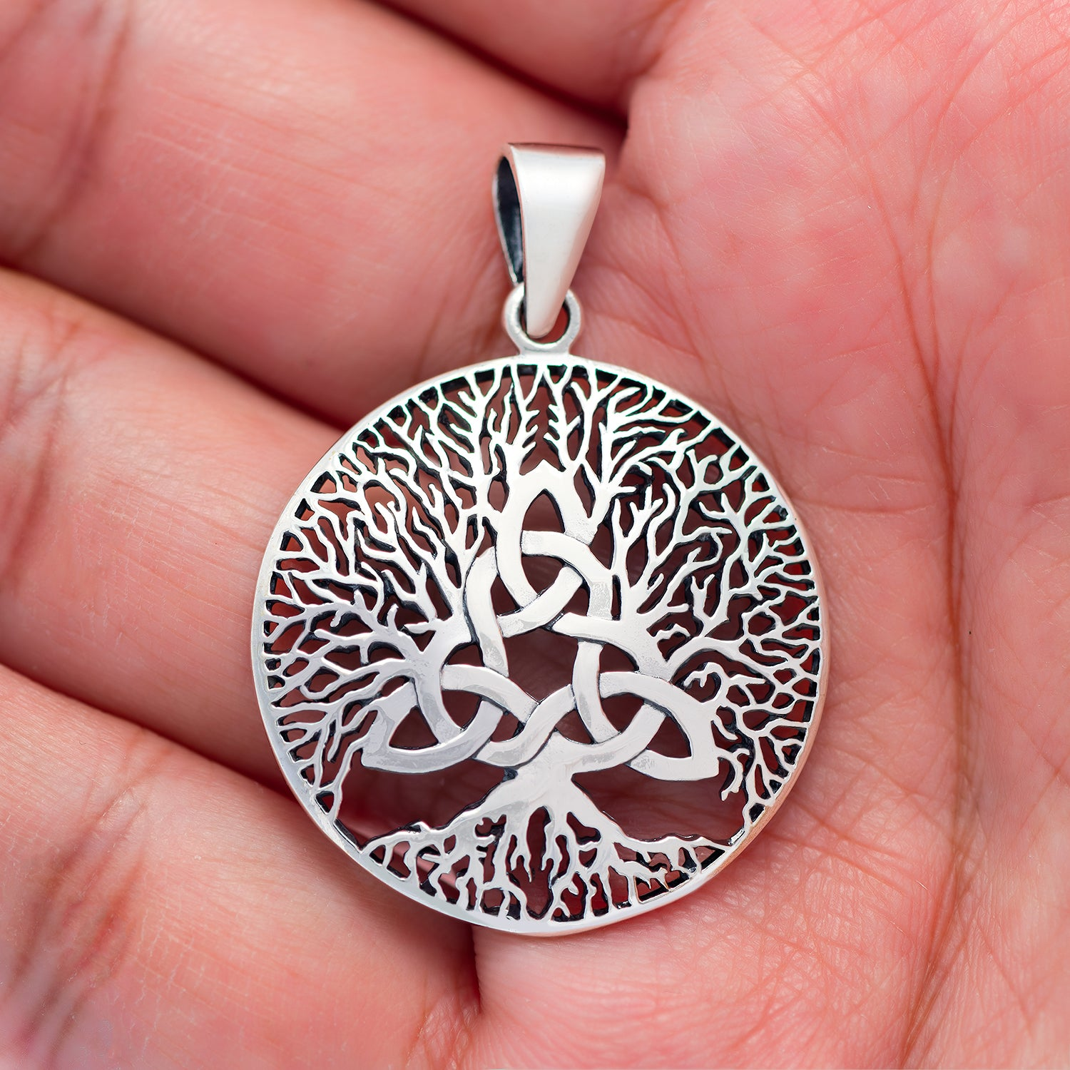 925 Sterling Silver Celtic Triquetra with Viking Yggdrasil Pendant