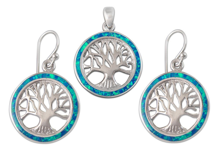 925 Sterling Silver Hawaiian Blue Fire Opal Tree of Life Dangle Earrings Pendant Set - SilverMania925