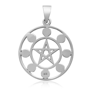 925 Sterling Silver 8 Moon Phases Pendant with Pentagram