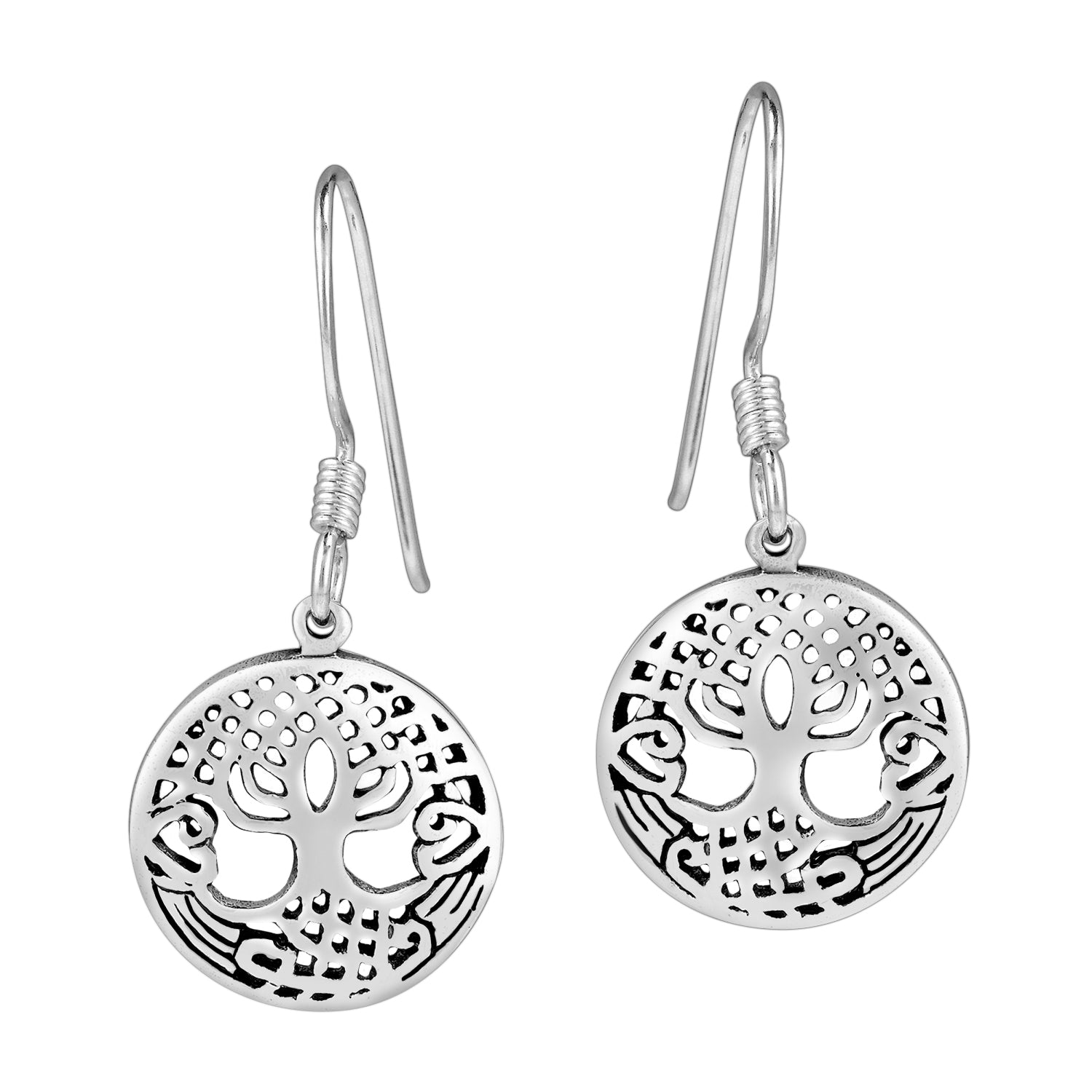 925 Sterling Silver Tree of Life Round Earrings Set