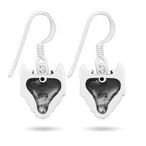 925 Sterling Silver Viking Wolf Fenrir Head Norse Dangle Earrings Set